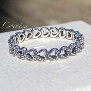 Pandora Band of Hearts Ring Size 7.5